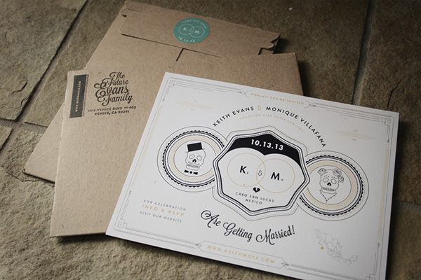 wedding invitations  invites  Mexico  cabo  screen print  2 color paper  business card  kraft mailer  envelope  stamp Rubber Stamp mamas sauce