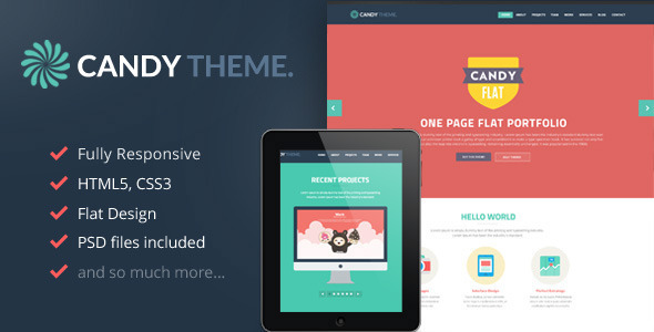 Candy Flat Onepage HTML Template On Behance - Html5 web page template