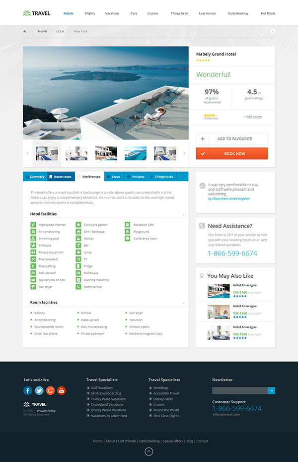 Travel agency responsive hotel online booking template on for Agence reservation hotel