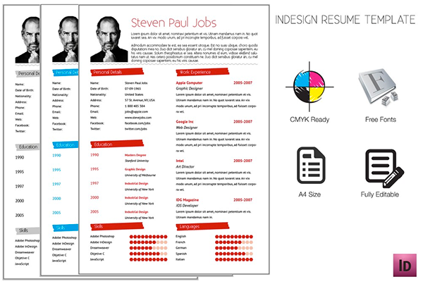 adobe indesign resumes template