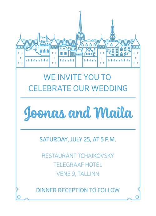 Tallinn line art city wedding invitations invitations Estonia wedding line
