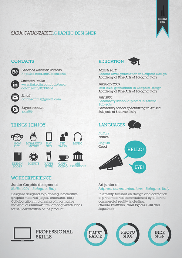 graphic resume   cv on pantone canvas gallery