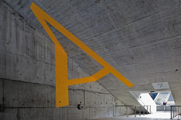 Eduardo Souto Moura Braga Stadium signage.