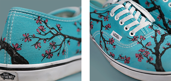 793edebdb4699d A pair of Vans I designed and hand-painted with Acrylics as a gift for my  sister s birthday. Designed inspired by the Arizona Green Tea packaging.