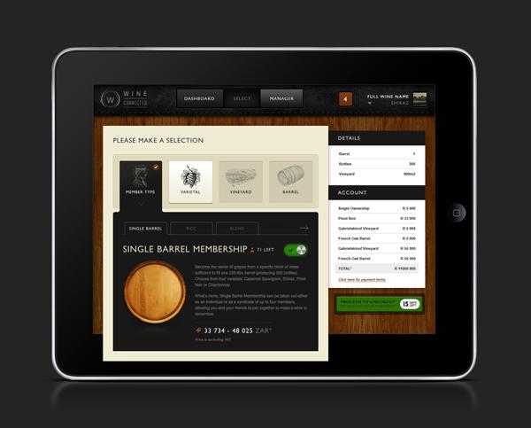 WineConnected UI ux digital marketing application iPad desktop mobile