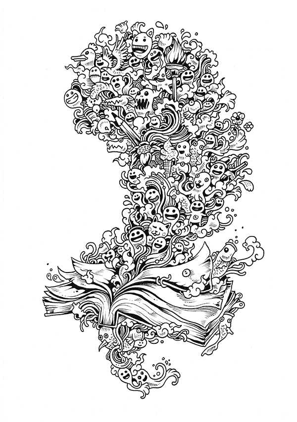 Doodle Invasion Coloring Book on