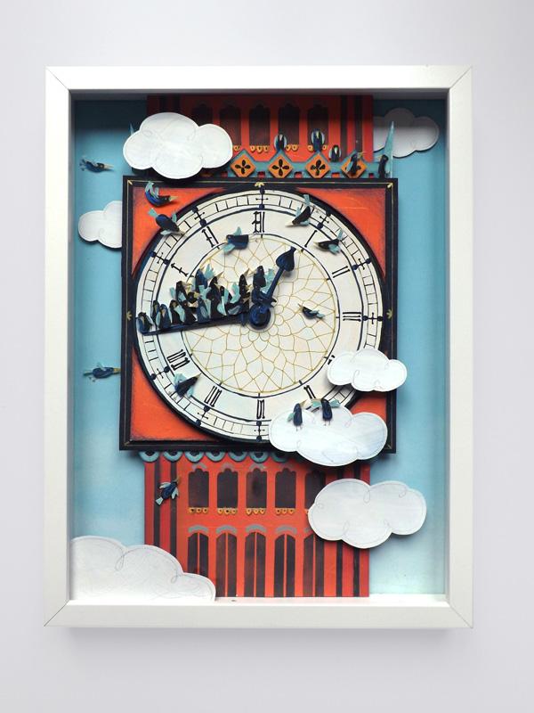 Serco Prize collage colour blue orange artwork Competition London big ben birds SKY clouds paper engineering editorial non-fiction