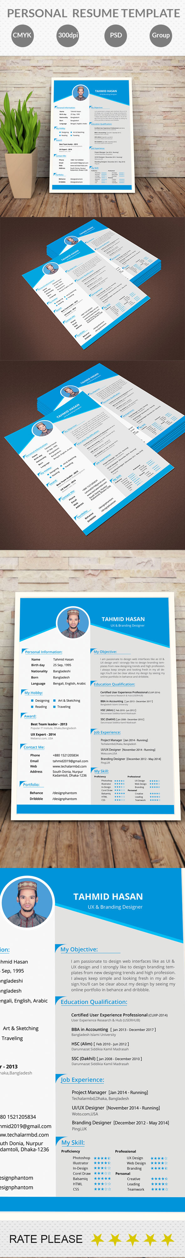 Personal Resume Template (Free Download) On Behance  Personal Resume Template