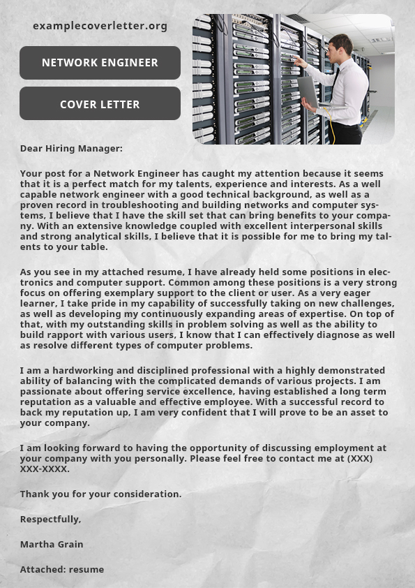 Network Engineer Cover Letter Example On Pantone Canvas Gallery