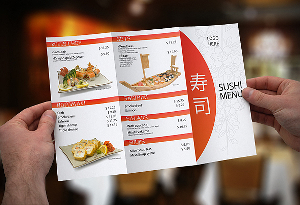 tri fold sushi menu template on behance