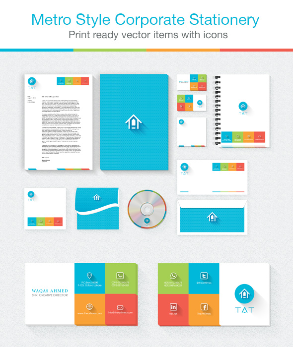 metro style corporate stationery on behance