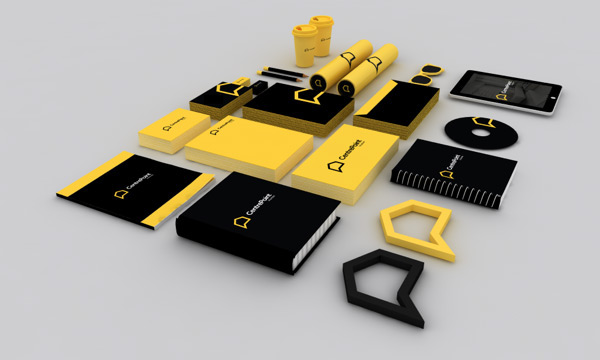 real estate logo brand identity user interface UI ux user experience interaction Homes construction Stationery print visual identity yellow bold