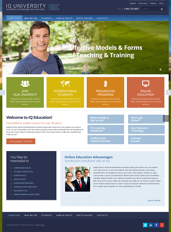 University Html Templates IQ University Of Business Bootstrap HTML Template on Behance