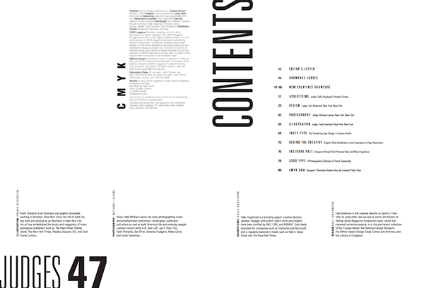 Cmyk magazine on behance for Table of contents design