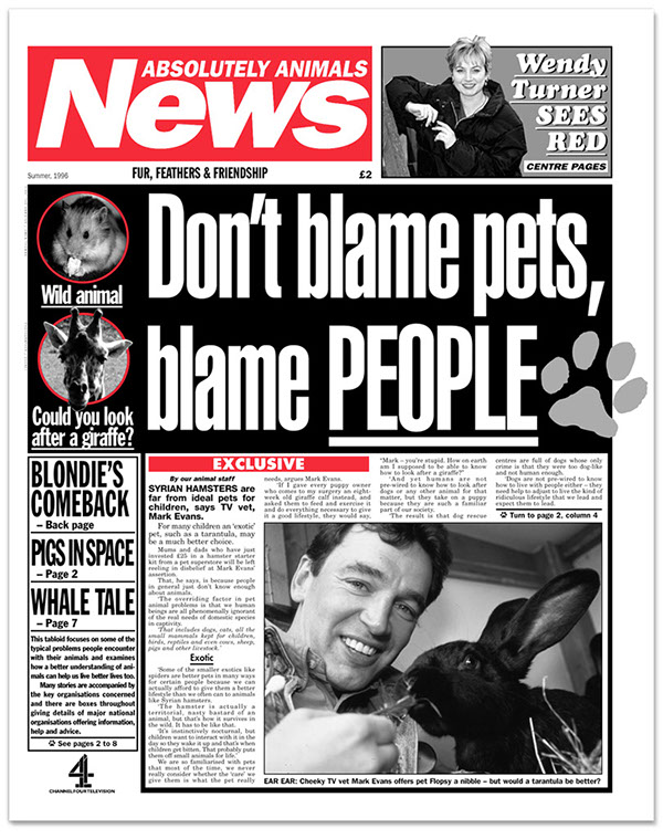 animals pets pastiche tabloid newspaper television bss broadcasting support services channel 4 Wendy Turner vet pet care tv publication