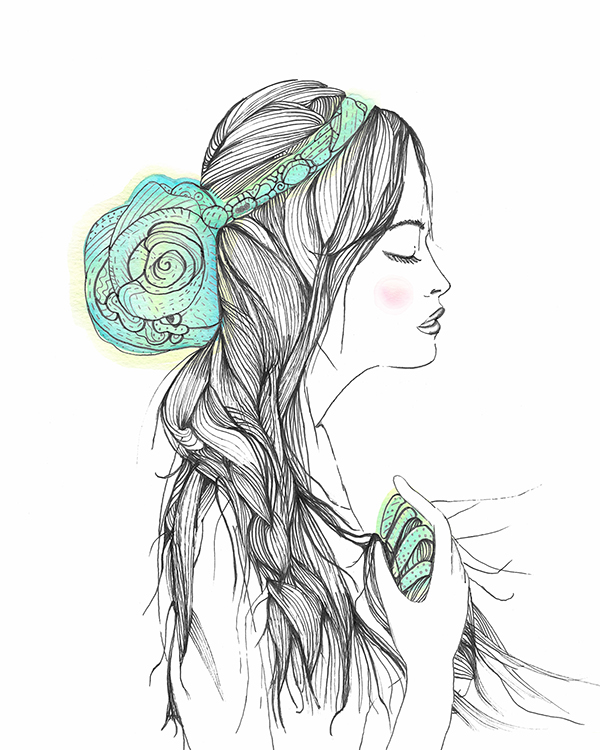 sea Ocean portrait Shells ethereal hair line crown drawings illustrations figure human body design graphic