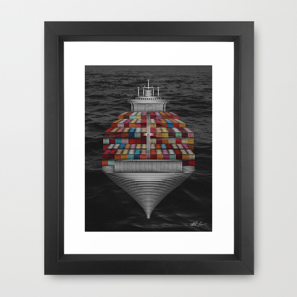 boat Container ship ship mer bateau cadre frame phone coussin Cell card sea
