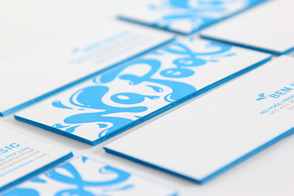 No pool productions letterpress business cards on behance business cards letterpress printed and edge painted on 100 cotton 600gsm flurocent white crane lettra stock reheart Gallery