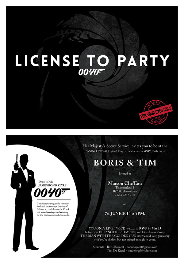 James Bond Birthday Invitation on Behance