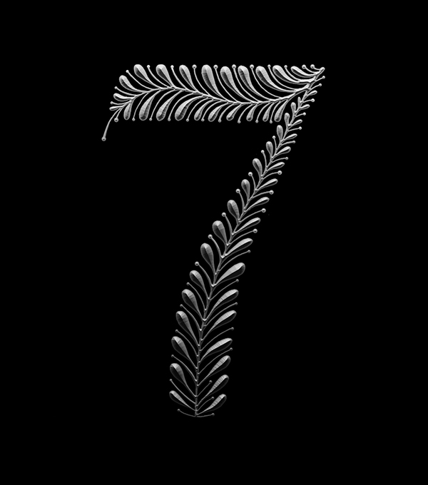 glyph number floral metallic shadow bevel Numbering