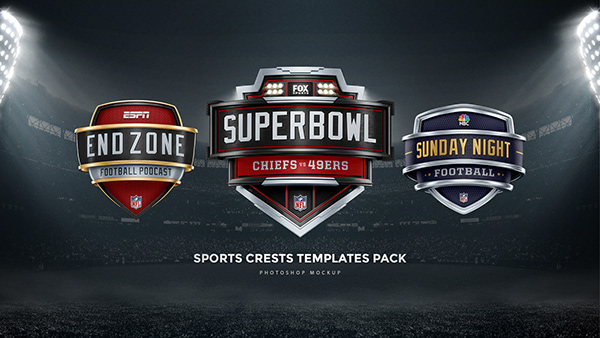 3D Sports broadcasting Crests & Shields templates pack