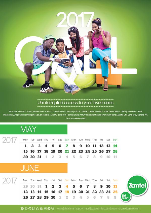 Calendar Zambia : Zamtel zambia calendar concept on pantone canvas gallery
