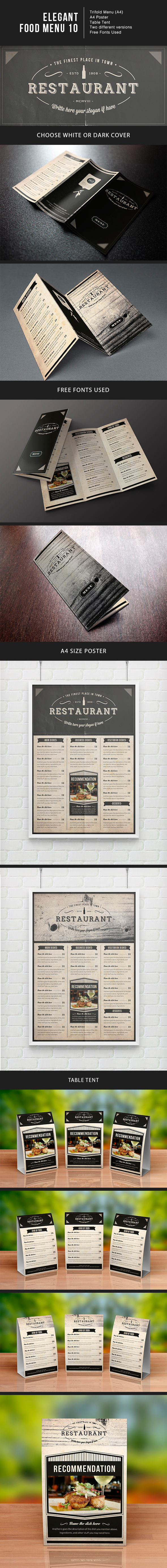 elegant food menu