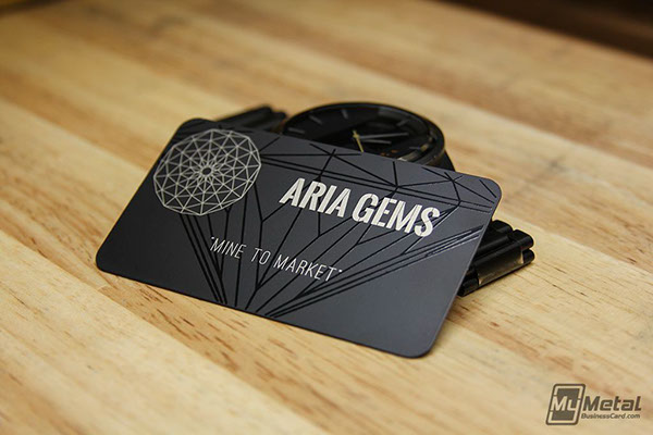 Black metal business card with black diamond on behance an awesome and sleek black metal card we produced for aria gems this card showcases our laser surface etching with our black screen printing reheart