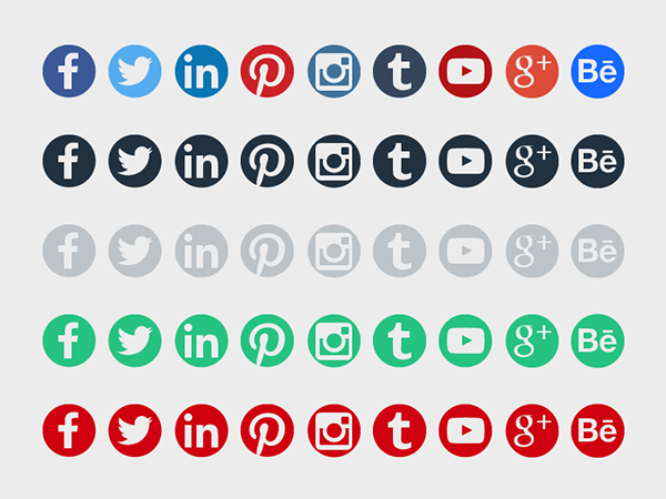 Round Social Media Icons on Behance