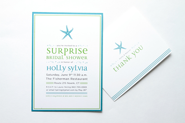 custom starfish bridal shower invitation on behance