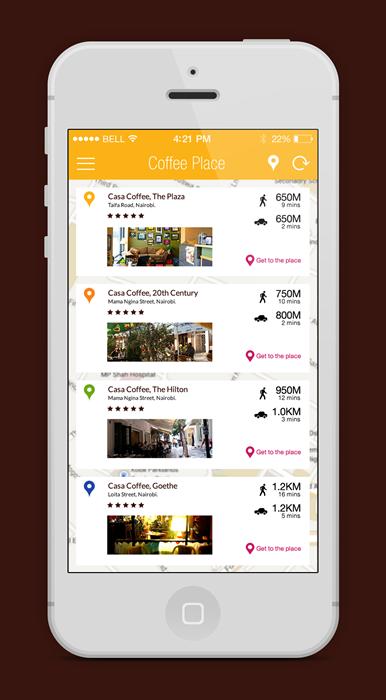 Coffee app ios iphone ios7 iOS 7 UI flatui map shopping cart dashboard Chat