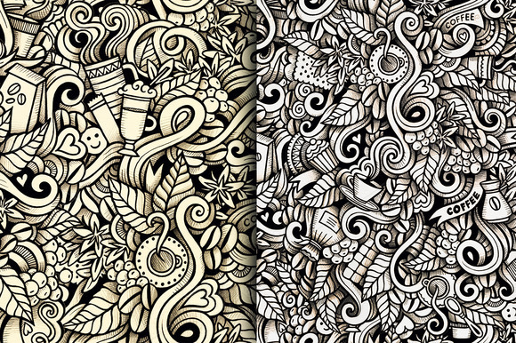 4 Coffee Doodles Art Patterns by balabolka on Behance