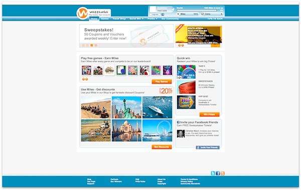 Games virtual world Coupons vouchers prizes travel shop Sweepstakes