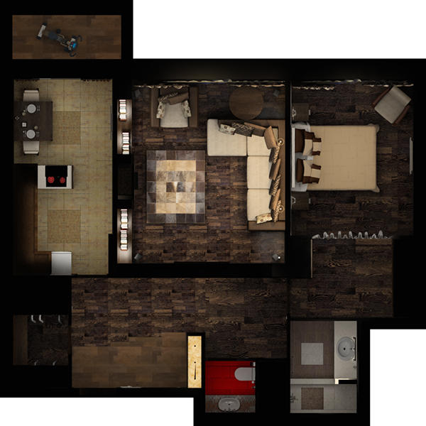 Interior design in 1 bedroom apartment of 88 m2 on behance for One bedroom apartment interior design