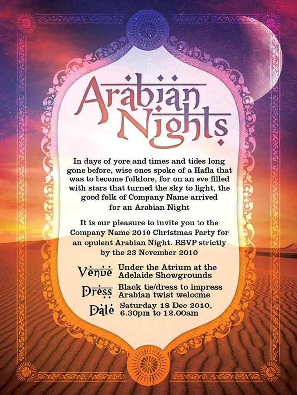 arabian nights invite on behance
