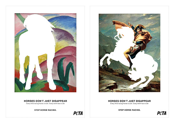 ADVERTISING for Peta Against Horse Racing (TV & Print) on MICA