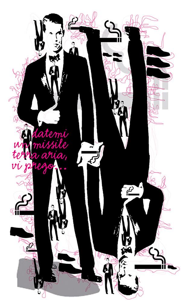Lusso Style illustrazione Francesco Mazzenga Belen Rodriguez tendenze Gennaio 2015 smoking Loredana Dell'Anno Tocchi di Charme