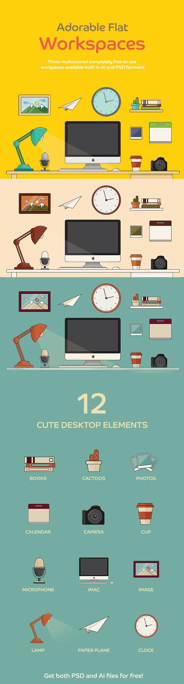 workspace desk flat freebie iMac vector psd free ai illustrate minimal download free Pack kit