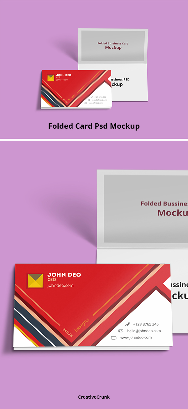 Free: Folded Business Card Psd Mockup on Behance