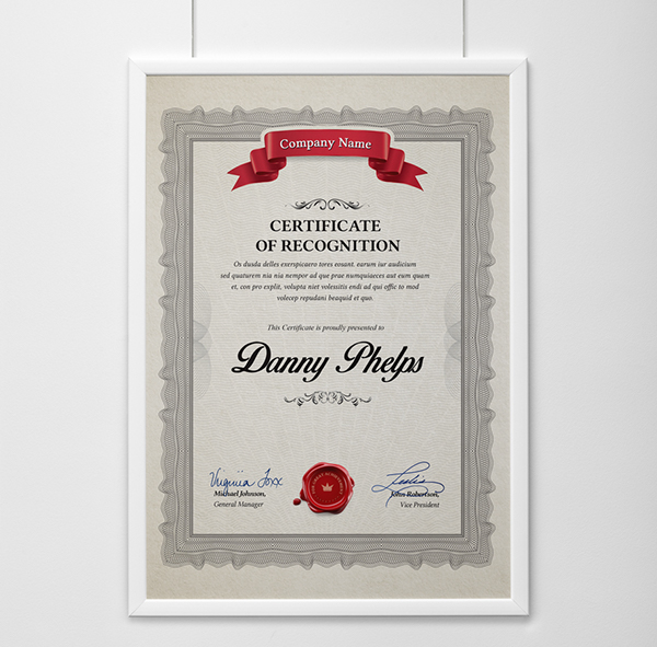 Certificate Templates Certificate Of Recognition For Administrative