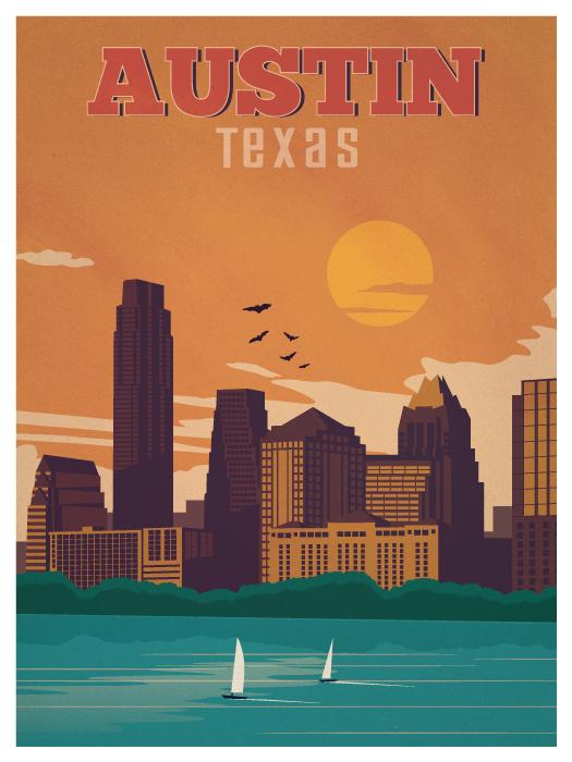 austin travel poster on behance