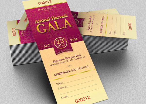 Harvest Gala Ticket Template On Behance - Event ticket template photoshop