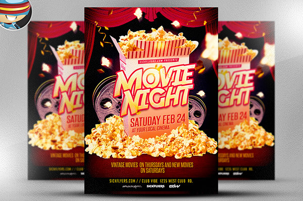 Movie night flyer template on behance movie night flyer template is fully editable photoshop psds once you have downloaded this template using adobe photoshop cs4 you can make use of this maxwellsz