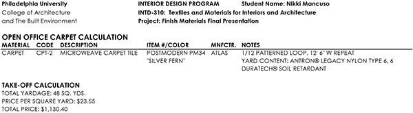Finish Materials Selection on PhilaU Portfolios