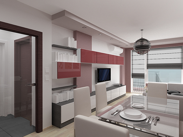Home interior design 07 one bedroom apartment on behance for Interior design 1 bedroom apartment