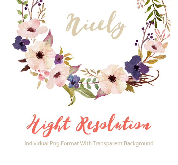 Watercolor flower Clip Art-Purple March/Individual PNG on Behance