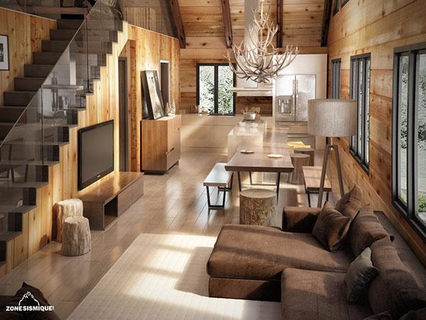 Chalet 3d bois hamel 2013 on behance - Decoration bois interieur maison ...