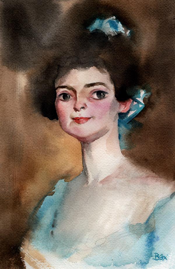 sargent portrait woman watercolor video
