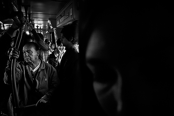 public transport, Bogota,bus,colombia,black and white,b&w,photo,people,digital