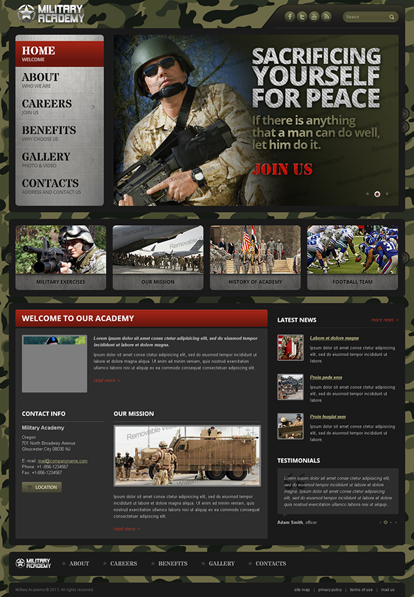 strong military academy bootstrap html template on behance
